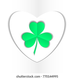 clover three leaf for saint patrick's day vector illustration isolated on white background. Transparent objects used for shadows and lights drawing