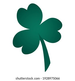 Clover. Trefoil. The white clover leaf is the symbol of Ireland. Colored vector illustration. Isolated background. Three sheets. Flat style. Saint Patrick Day. Green plant. Idea for web design.