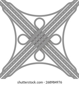 Cloverleaf interchange - two level, four way interchange with collector/distributor roads, loop ramps, underpass and overpass. Detailed vector illustration on white background.