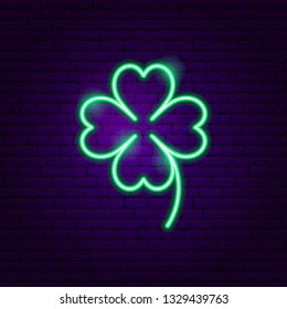 Cloverleaf Neon Sign. Vector Illustration of Game Promotion.