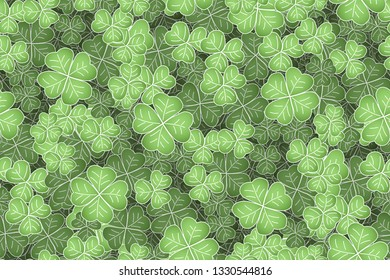 Cloverleaf Repeatable Background, green texture with cloverleafs for Saint Patricks day