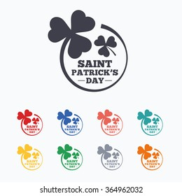 Clovers in circle with three leaves sign icon. Saint Patrick trefoil shamrock symbol. Colored flat icons on white background.