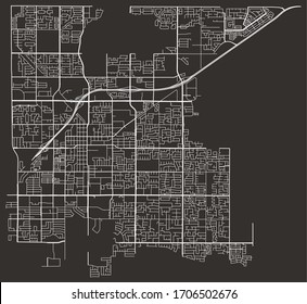 Clovis, California, USA map of roads and streets network