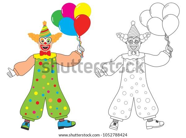 Clown Balloons Coloring Book Activity Children Stock ...