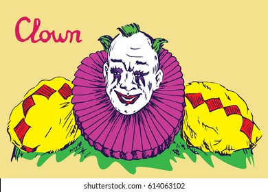 The clown in bright costume with green hair smiling, hand drawn doodle, bright colors sketch in pop art style, vector illustration