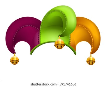 Clown cap with golden bells. Isolated on white vector illustration