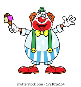 A Clown carrying an ice cream and greeting good for ice cream shop Mascot Characters Cartoon Vector