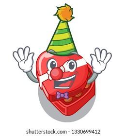 Clown chocolate heart box above cartoon fridge