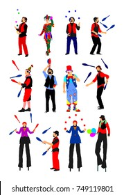 Clown in circus on stilts with balloons vector isolated on white background. Street actor illustration. Juggler artist vector, Juggling with balls and pins. Performer Artist acrobat. Birthday animator
