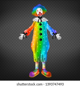 Clown in circus, party man isolated on transparent background. Funny comedian, jester character wearing rainbow periwig, white mask, red nose and colorful costume. Realistic 3d vector illustration.