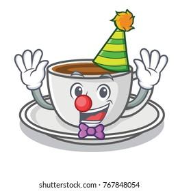 Clown coffee character cartoon style