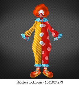 Clown costume with big, funny shoes, red wig, face mask and red nose 3d realistic vector isolated on transparent background. Children birthday celebration party, masquerade clothing illustration