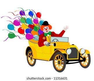 Clown drives old car
