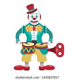 Clown Drummer Wind Up Tin Toy amusement park cartoon concept. Toys for Toddlers Kids Children style vintage vector illustration