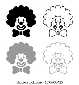 Clown face head with big bow and curly hair Circus carnival funny invite concept icon outline set black grey color vector illustration flat style image
