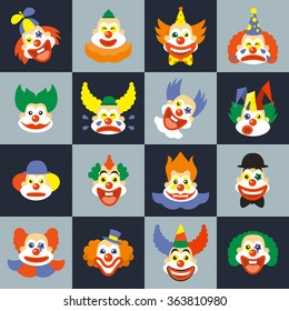 Clown face set. Character cry with hair in costume, carnival circus clown faces. Clown faces vector illustration