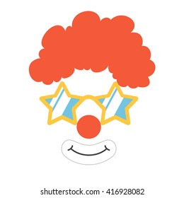 Clown face set. Mask. Party funnyman birthday photo booth props. Wig, nose, funny glasses, smile. Vector illustration
