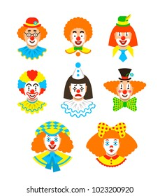Clown faces different avatars. Vector flat icons. Cartoon illustration. Circus men and girl smiling portraits with different makeup, hair and hats
