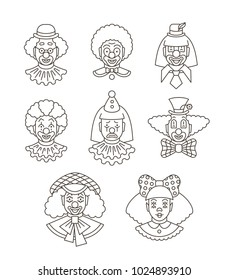 Clown faces different thin line avatars. Vector flat linear icons. Cartoon illustration. Circus men and girl smiling outline portraits with different makeup, hair and hats