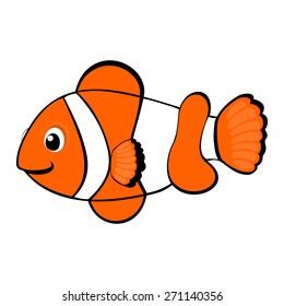 Clown fish cartoon vector illustration Tropical sea life theme illustration Under the sea animals vector illustration Cute orange fish vector illustration Under the sea animals vector illustration
