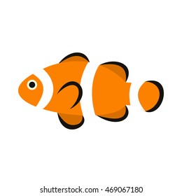 Clown fish icon in flat style isolated on white background. Sea creatures symbol