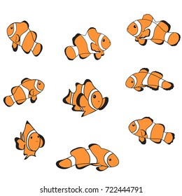 Clown fish icon in flat style isolated on white. Sea creatures symbol. Clown fish cartoon vector illustration Tropical sea life theme. Cute orange fish with white strips. Minimal striped fish set.