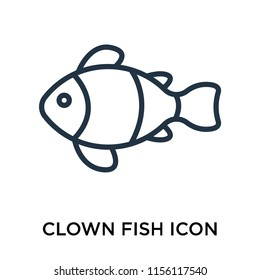 Clown fish icon vector isolated on white background, Clown fish transparent sign , thin pictogram or outline symbol design in linear style
