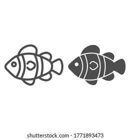 Clown fish line and solid icon, marine life concept, Tropical reef fish sign on white background, clownfish icon in outline style for mobile concept and web design. Vector graphics