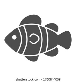 Clown fish solid icon, marine life concept, Tropical reef fish sign on white background, clownfish icon in glyph style for mobile concept and web design. Vector graphics