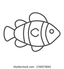 Clown fish thin line icon, marine life concept, Tropical reef fish sign on white background, clownfish icon in outline style for mobile concept and web design. Vector graphics