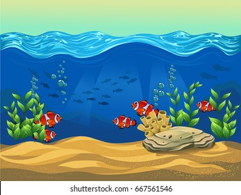 cartoon sea ocean seabed game horizontal stock illustration