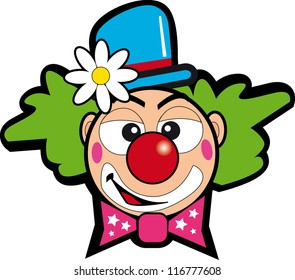 clown with flower. Illustration of a face clown for a sticker