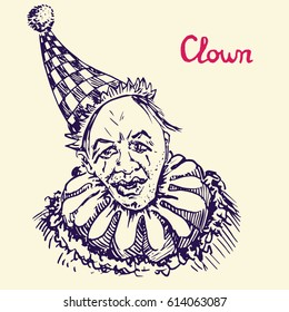 The clown in funny checkered hat smiling, hand drawn doodle, bright colors sketch in pop art style, vector illustration