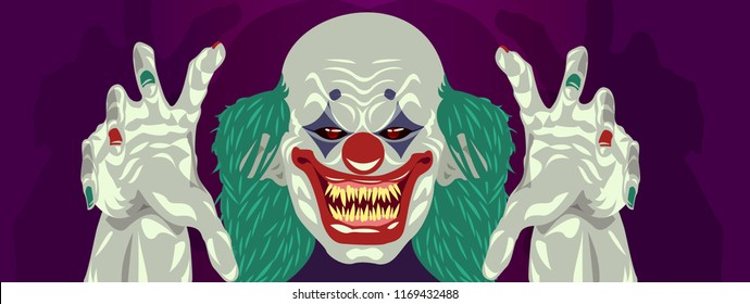 clown Halloween costume design flat design scary clown reaching out hands to grab you