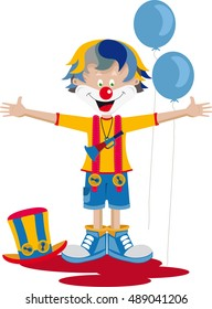 Clown with hat, horn and balloons