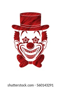 Clown head, smile face designed using red grunge brush graphic vector.