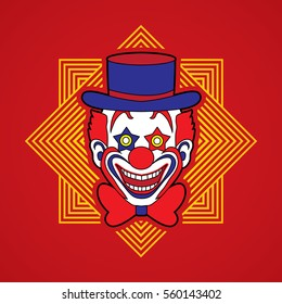 Clown head, smile face designed on line square background graphic vector.