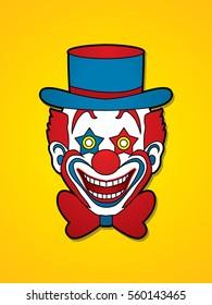 Clown head, smile face graphic vector.