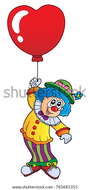 Clown with heart shaped balloon theme 1 - eps10 vector illustration.