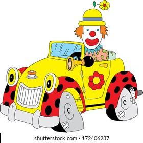 Clown With His Car