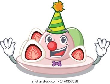 Clown ichigo daifuku served on mascot bowl