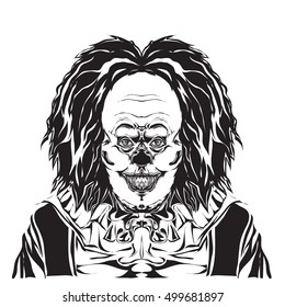 Clown Illustration, Black and White style