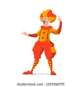 Clown isolated icon, circus show, makeup and fake nose. Vector entertainer or stage performer, comedian and amusement. Joker with crazy hairstyle in pants on suspenders and striped stockings