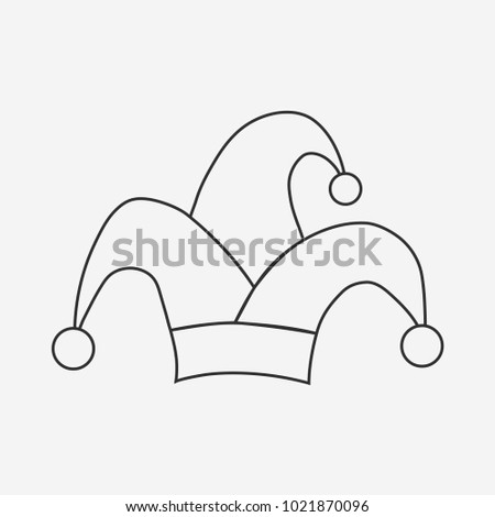 b9fa3ca5531 Clown jester hat flat black outline design icon. Vector eps10 illustration.