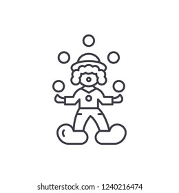 Clown juggler line icon concept. Clown juggler vector linear illustration, symbol, sign