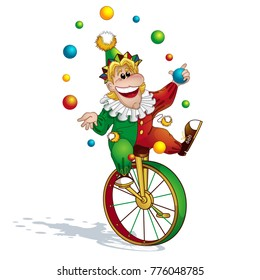 The clown juggler in a red-green suit and a cap juggles with balls and rides on a unicycle. A circus character in the style of a card. Funny kids vector illustration.