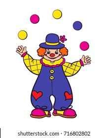 clown juggling balls on a white background. Vector Illustration.
