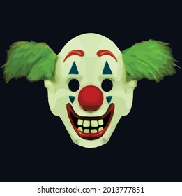 The clown mask used in the movie The Joker.  Scary evil clown smile. Vector icons set. An enigmatic smile on the clown's face. Vector illustration.