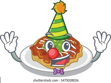 Clown okonomiyaki is served on cartoon plate