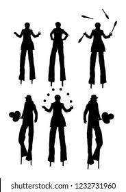 Clown on stilts with balloons vector silhouette isolated on white background. Street actor illustration. Juggler artist vector, Juggling with balls and pins. Clown in circus. Performer Artist acrobat.